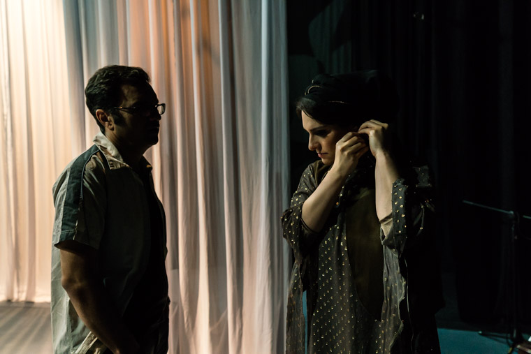 ranian female vocalist Hannah Kamkar preparing to go on stage at the Tehran Independetn Theater, while talking to her director.
